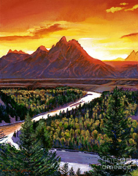 Snake Mountain Wall Art - Painting - Sunset Over The Grand Tetons by David Lloyd Glover