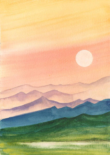 Painting - Sunset Over The Hills by Asha Sudhaker Shenoy