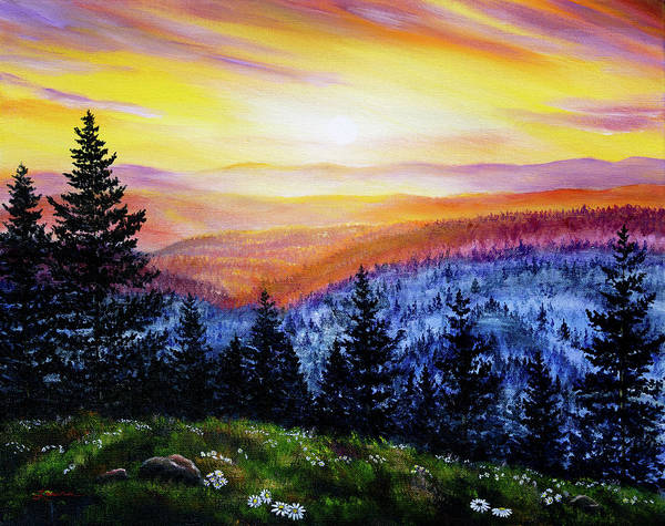 Wall Art - Painting - Sunset Over The Hills At Cape Perpetua by Laura Iverson
