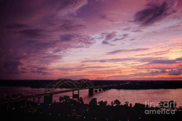 Photograph - Sunset Over The I40 Bridge In Memphis Tennessee  by T Lowry Wilson
