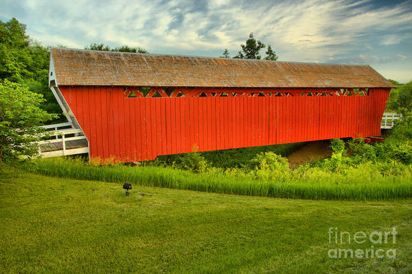 Photograph - Sunset Over The Imes Covered Bridge by Adam Jewell