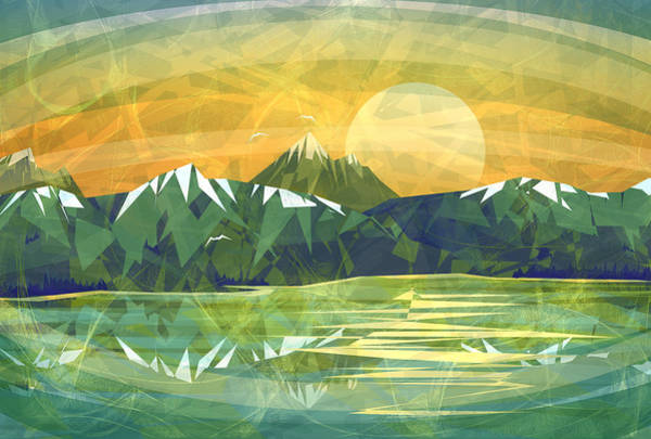 Triangles Painting - Sunset Over The Mountain  by Anita Mihalyi