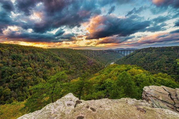 Photograph - Sunset Over The New River Bridge In West Virginia by Matt Shiffler