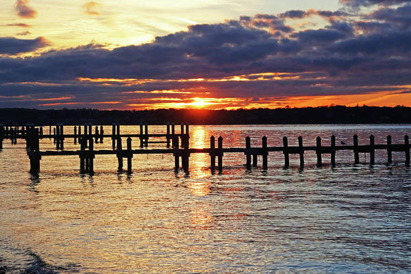 Photograph - Sunset Over The Piers In Vineyard Haven Cape Cod Martha's Vineyard by Toby McGuire