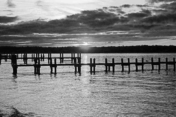 Photograph - Sunset Over The Piers In Vineyard Haven Cape Cod Martha's Vineyard Black And White by Toby McGuire