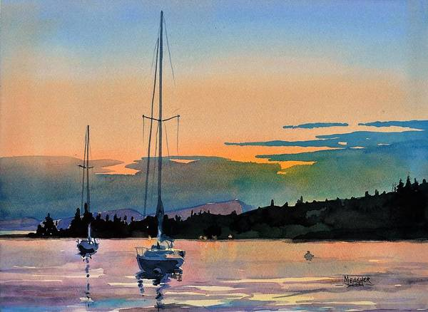 Lake Superior Painting - Sunset Over The Sawtooth by Spencer Meagher