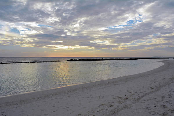 Photograph - Sunset Over The Sea With Clouds In Maldives by Oana Unciuleanu
