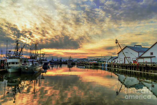 Evening Wall Art - Photograph - Sunset Over The Steveston Fishing Village In Richmond Bc, Canada by Viktor Birkus
