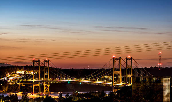 Photograph - Sunset Over The Tacoma Narrows Bridges by Rob Green