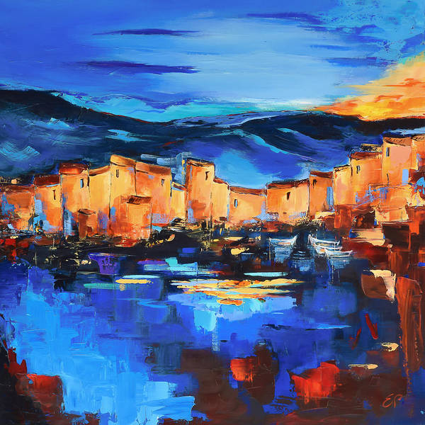 Painting - Sunset Over The Village 2 By Elise Palmigiani by Elise Palmigiani