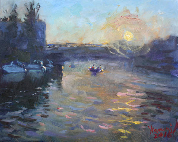 Tonawanda Wall Art - Painting - Sunset Over Tonawanda Canal  by Ylli Haruni