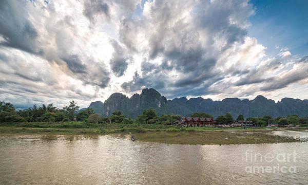 Sunset Over Vang Vieng River In Laos Art Print