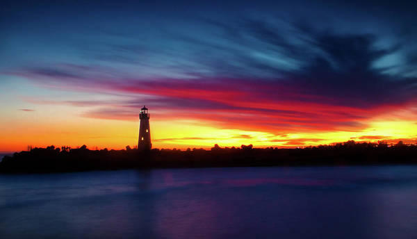 Bluehour Photograph - Sunset Over Walton Light by Nick Borelli