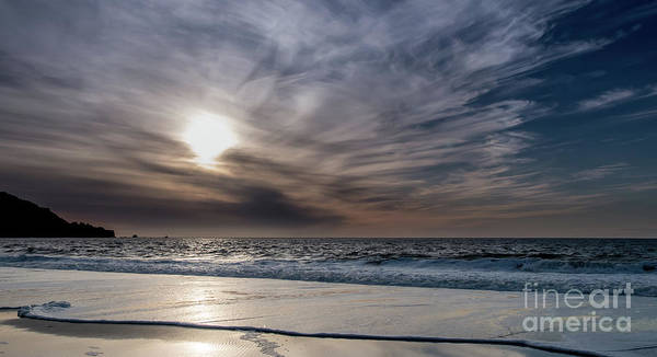 Sunset Over West Coast Beach With Silk Clouds In The Sky Art Print
