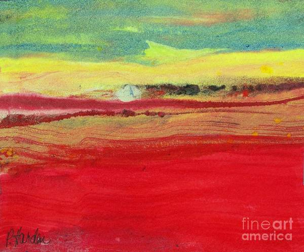Monotype Mixed Media - Sunset by Pamela Iris Harden