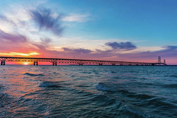 Photograph - Sunset Panorama At Mackinac Bridge by Dan Sproul