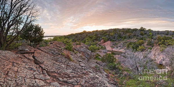 Photograph - Sunset Panorama Of Inks Lake State Park Devil's Waterhole - Texas Hill Country Burnet County by Silvio Ligutti