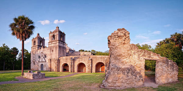 Wall Art - Photograph - Sunset Panorama Of Mission Concepcion And Ruins In San Antonio - Bexar County Texas by Silvio Ligutti