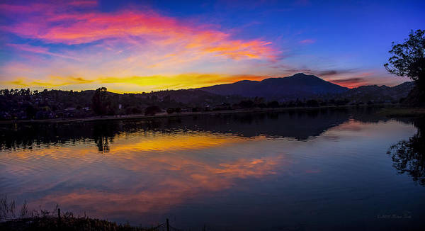 Sunset Panorama Of Mt. Tam And Richardson Bay Art Print
