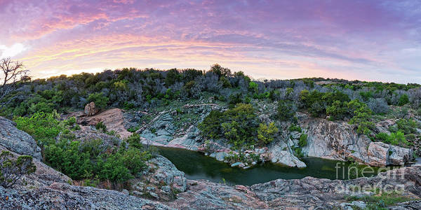 Wall Art - Photograph - Sunset Panorama Of Spring Creek And Devil's Waterhole Inks Lake State Park Burnet County Texas Hills by Silvio Ligutti