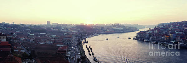 Photograph - sunset panorama of the Douro river in Porto, Portugal by Ariadna De Raadt
