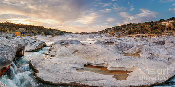 Photograph - Sunset Panorama Of The Pedernales River At Pedernales Falls State Park - Jonhson City Hill Country by Silvio Ligutti