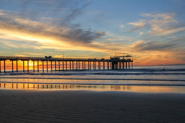 Scripps Pier Photograph - Sunset Pier by Mary Ourada