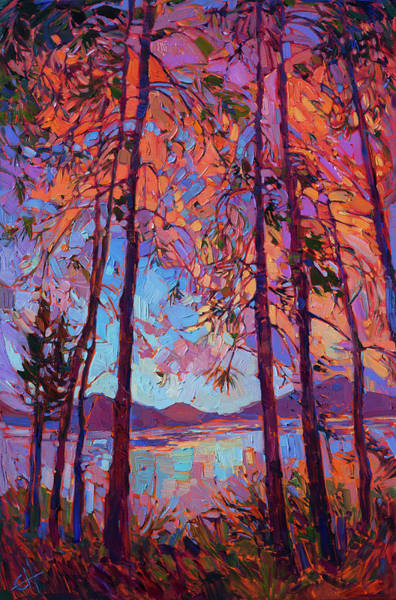 Cascade Painting - Sunset Pines by Erin Hanson