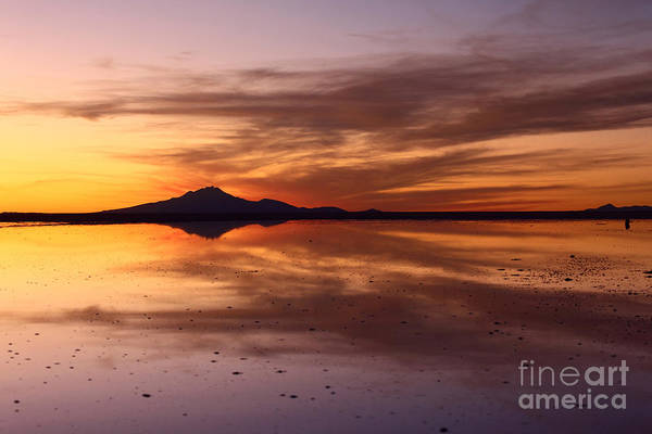 Photograph - Sunset Reflected In Salar De Uyuni by James Brunker