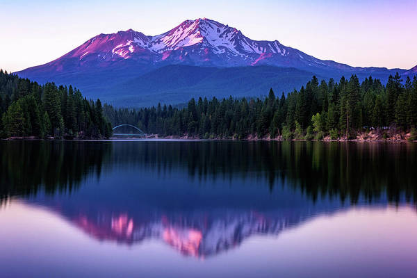Photograph - Sunset Reflection On Lake Siskiyou Of Mount Shasta by John Hight