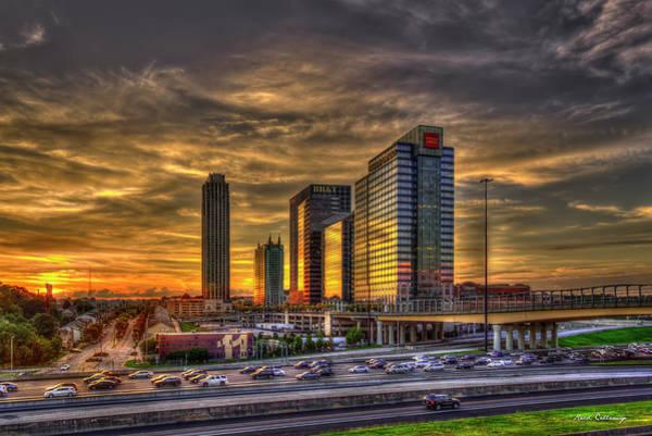 Photograph - Sunset Reflections And Traffic Midtown Atlanta 17th Street Bridge Art by Reid Callaway