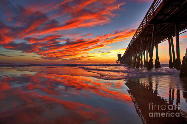 Sunset Reflections At The Imperial Beach Pier Art Print