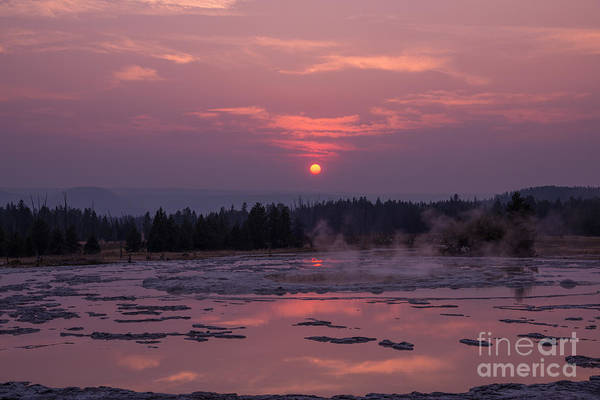Geysers Photograph - Sunset Reflections On The Great Fountain Geyser by Michael Ver Sprill
