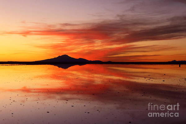 Photograph - Sunset Reflections Salar De Uyuni by James Brunker