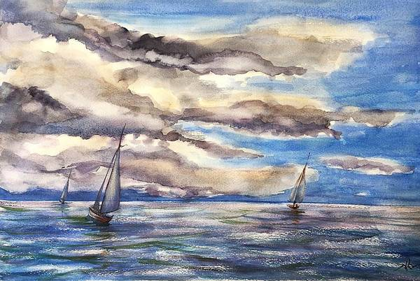 Painting - Sunset Regatta by Katerina Kovatcheva