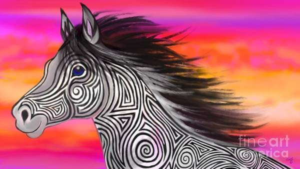 Wall Art - Painting - Sunset Ride Tribal Horse by Nick Gustafson