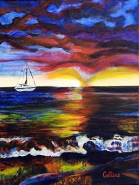 Impressionistic Sailboats Painting - Sunset Sail by C D  Collins