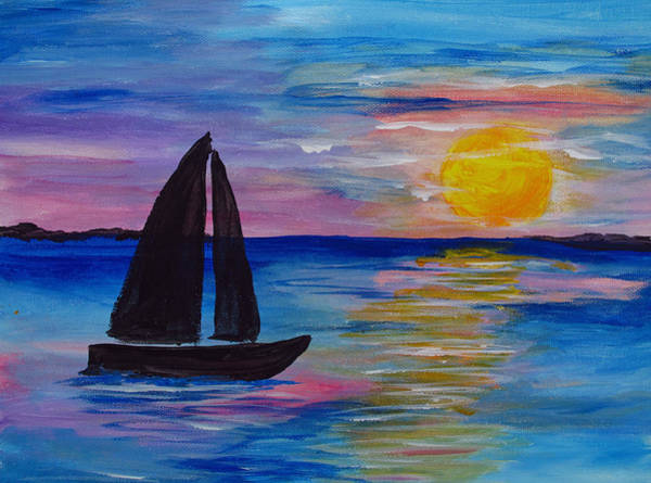 Wall Art - Painting - Sunset Sail Small by Barbara McDevitt