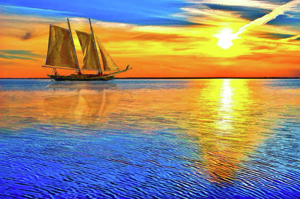 Wall Art - Painting - Sunset Sailboat Outer Banks Ap by Dan Carmichael