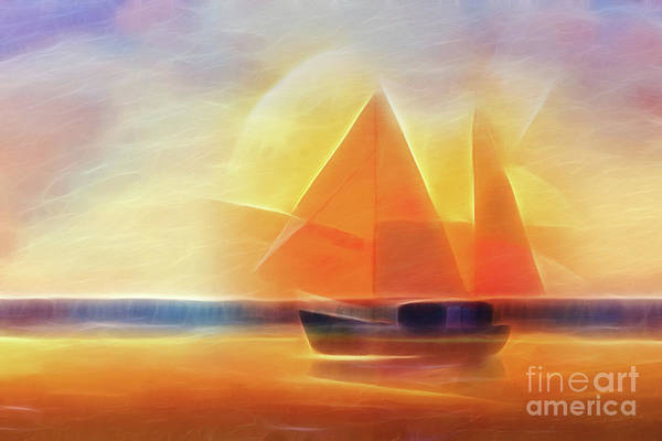 Painting - Sunset Sails by Lutz Baar