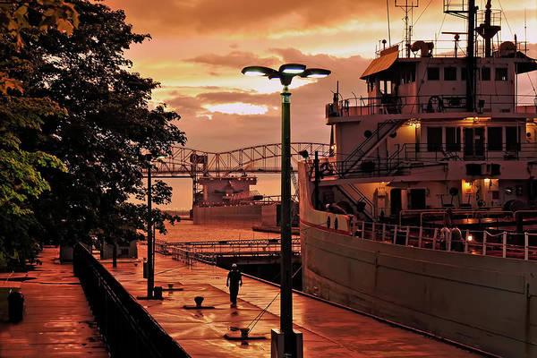 Freighter Photograph - Sunset Sault Locks by Allyson Schwartz
