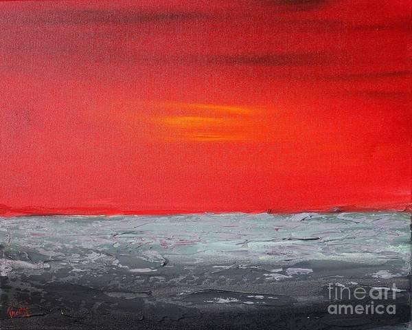 Painting - Sunset Sea 3 by Preethi Mathialagan