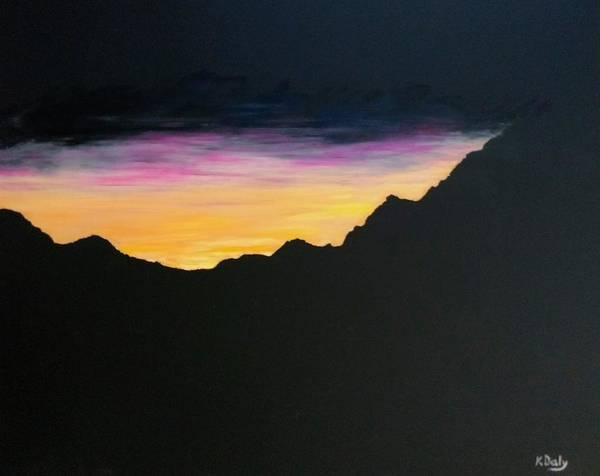 Art Print featuring the painting Sunset Silhouette by Kevin Daly