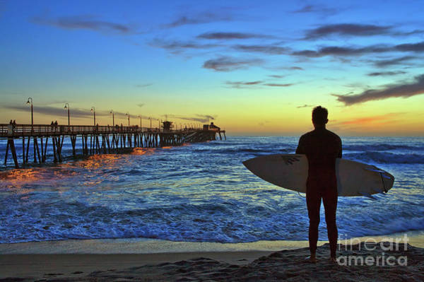 Photograph - Sunset Silhouette Of A Surfer At The Imperial Beach Pier  by Sam Antonio Photography