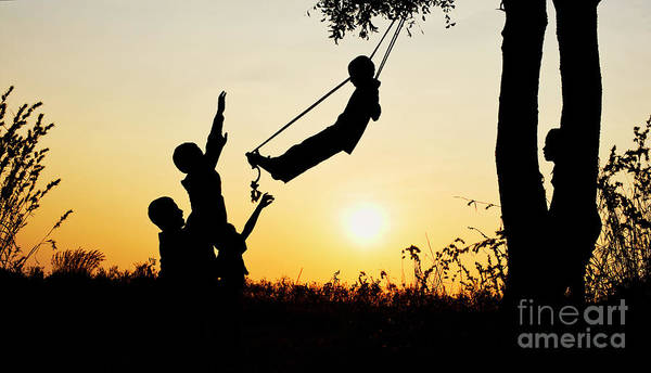 Photograph - Sunset Silhouette Swing by Tim Gainey