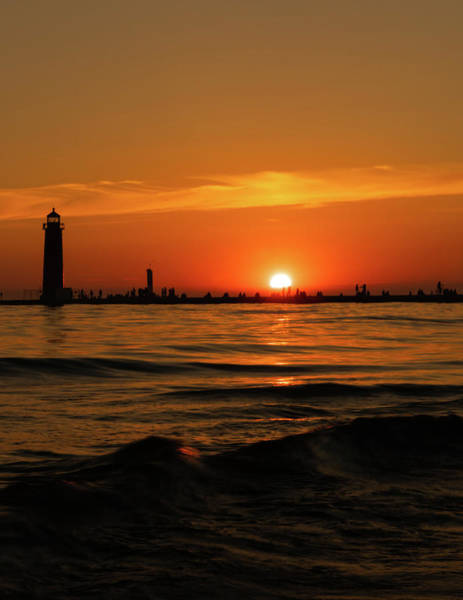 Photograph - Sunset Silhouettes At Grand Haven Michigan by Dan Sproul