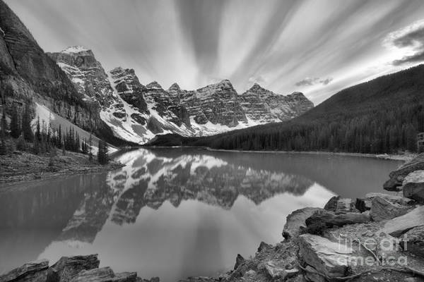 Photograph - Sunset Skies Over Moraine Lake Black And White by Adam Jewell