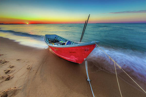 Sunset Skiff Art Print
