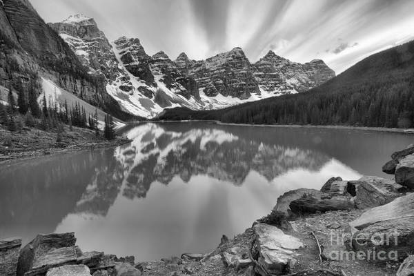Photograph - Sunset Stripes Over Moraine Lake Black And White by Adam Jewell