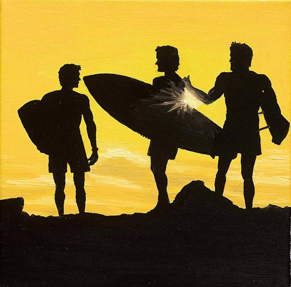 Surfer Painting - Sunset Surf by Andrew Palmer